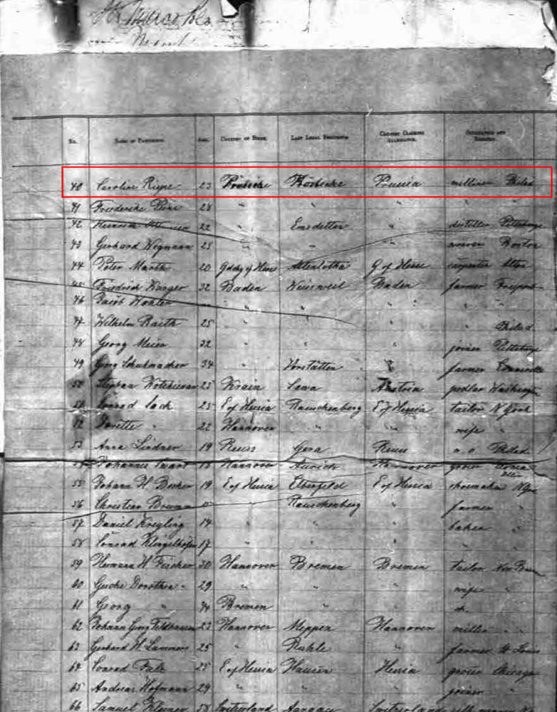 "Passenger List - ""Ship Marco Polo"""